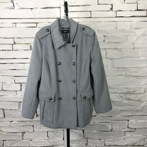 Double Breasted Coat Gray Military Style 2045